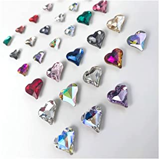 32PCS 2021 New 3D Crooked Peach Heart Nail Rhinestones in Two Styles, Special-shaped Peach Heart Crystal Diamond Pointed B...