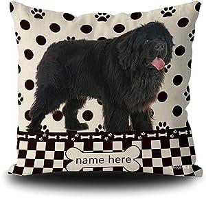 BAGEYOU Custom Dog's Name Polka Dots Throw Pillow Cover Adorable Newfoundland Buffalo Check Plaid Paw Bone Decor Home Couch Cushion Pillowcase 20x20 Inch Square