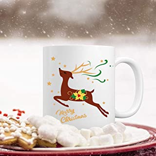 Funny Christmas Coffee Mug Merry Christmas Coffee Cup Cute Reindeer with Stars Festival Decorative Best Christmas Gifts for Family Friends Coworkers or Daily Use Ceramic Cup 11 Ounce
