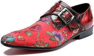 Rui Landed オックスフォード用男性フォーマルシューズスリップオンスタイル高品質本革絶妙な刺繍ファッションクラスプ (Color : 赤, サイズ : 28 CM)