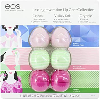EOS Evolution of Smooth Lip Balm ~ Lasting Hydration Lip Care Collection 6-Pack ~ 2 Hibiscus Peach, 2 Cucumber Melon, 2 Organic Wildberry