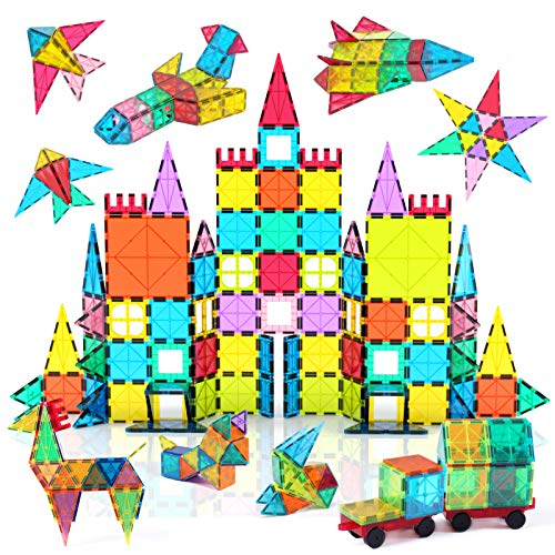 Jasonwell 108pcs Magnetic Blocks Kids Magnetic Tile Building Blocks Set 3D Magnet Bulding Tiles Construction Playboard Magnet Tiles Educational Toys Gift for Toddler Boys Girls 3 4 5 6 7 8 10 Year Old