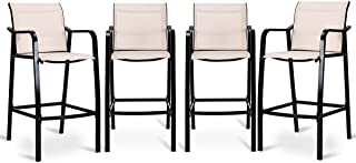 COSTWAY Set of 4 Bar Chairs Modern Style Counter Height Stool Steel Frame Sling Dining Chairs Bar Stools Indoor Outdoor Patio Backyard Kitchen Furniture Set with Armrest