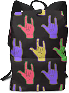 Asl American Color Charm ILY Sign Book Bag Holder Travel Library Back Backpack School Travel Hiking Small Mini Fashion Cute Gym Teen Little Girls Youth Boy Women Men Toddlers Bookbag