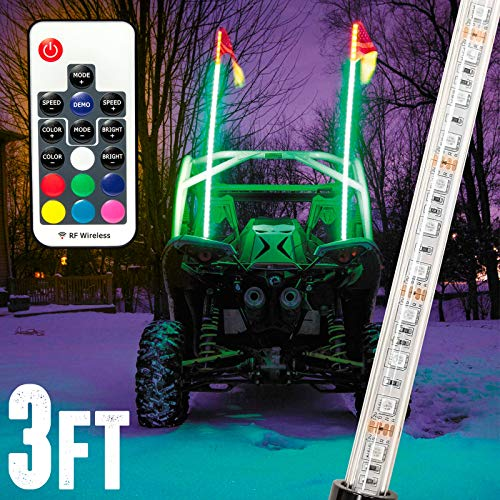 Krator 3ft Multi-Color LED Whip Light with Remote Control and American USA Flag - LED Antenna Whip Light for Sand Dune Buggy, ATV, UTV, RZR, Jeep, Trucks, and Other Off-Road Vehicles