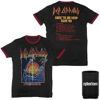 Def Leppard Pyromania Rock 'Til We Drop UK Tour 83 Ringer T-Shirt w/Dates + Coolie
