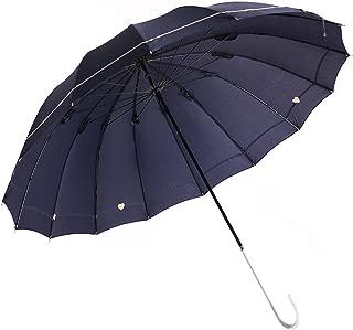 MEEFUR 傘 レディース 長傘 雨傘 おしゃれ 手開き 傘 高強度グラスファイバー 16本骨傘 手動 耐風 軽量 丈夫 撥水 豪雨対策 台風・梅雨対策(ブルー)