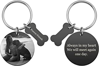 Personalized Master Custom Pet Photo Text Keychain Picture Engraved Round Tag Key Chain with Bone Charm Pet Memorial Gift for Pet Animal Lovers