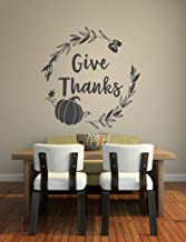 Vinyl Wall Art Decal - Give Thanks - Fall Decoration Wreath Fern Pumpkin Acorns Thanksgiving Gather Autumn Holiday Family ...