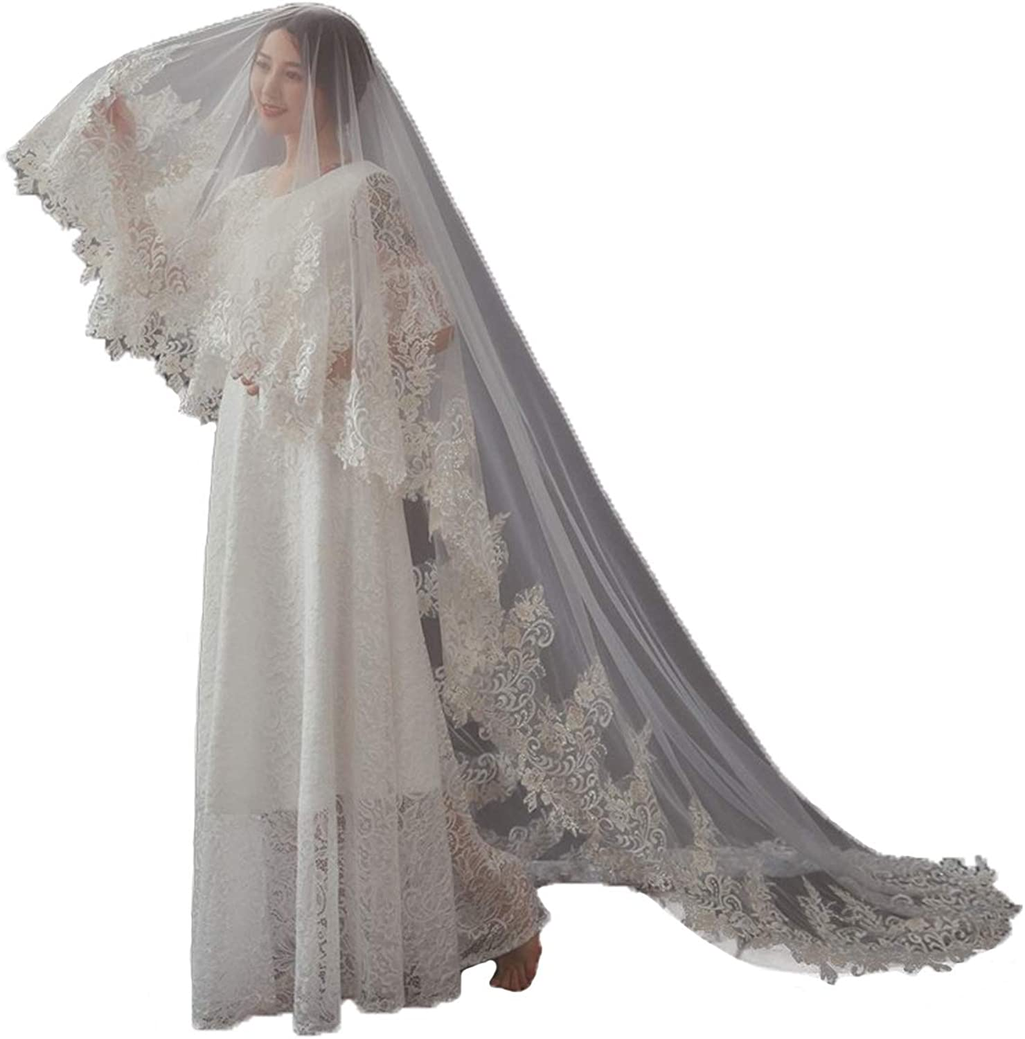 Newdeve Wedding Veils Beaded Lace Cathedral 2 Tier Blusher with Comb