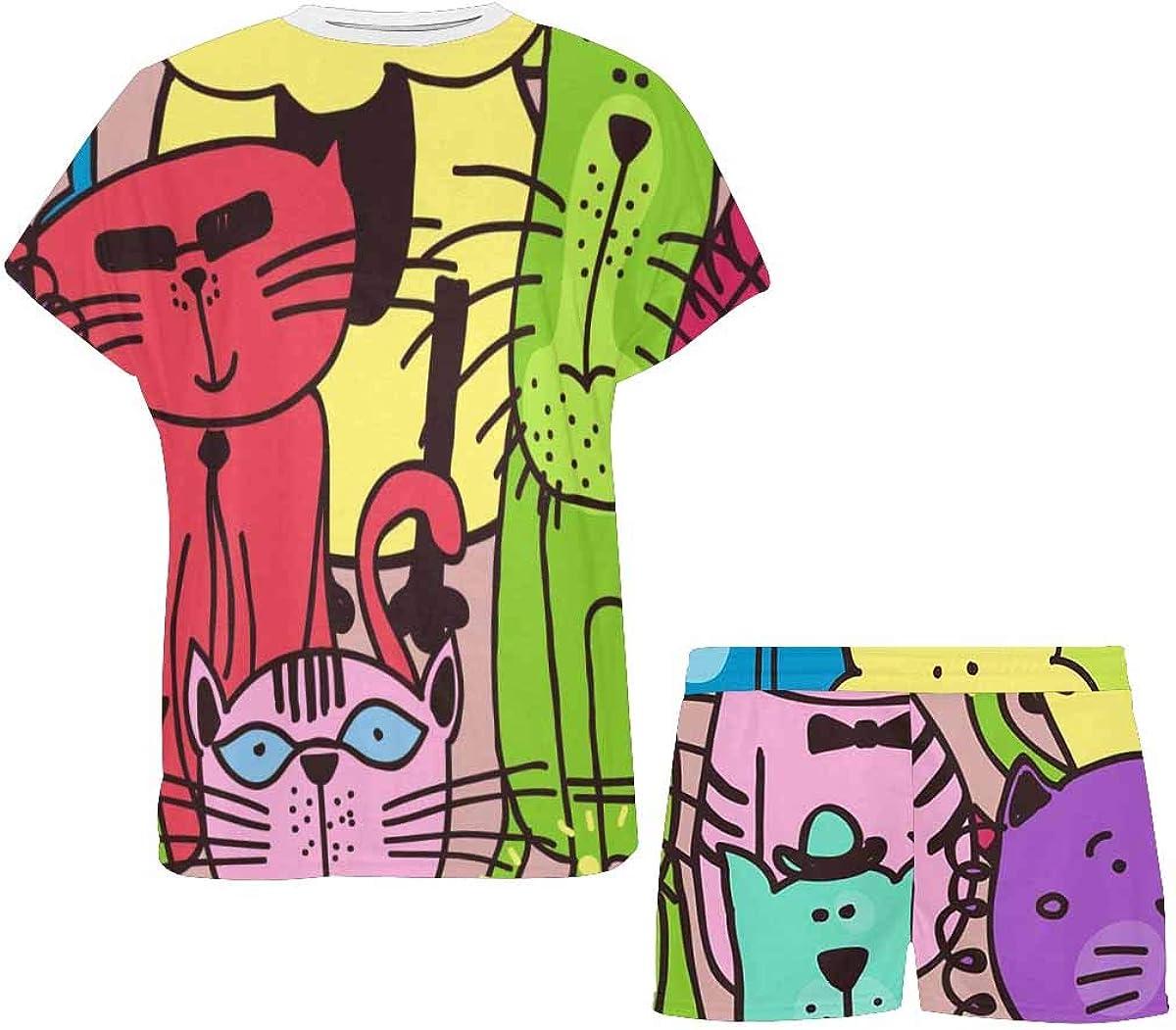 INTERESTPRINT Colorful Animals Women Sleepwear Short Sleeves Pajama Sets