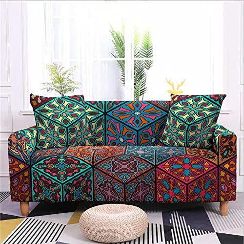 Antideslizante Funda de Sofá de 3 Plazas Flor de Naranja Verde Funda Elástica sofá (Regalar 2 Funda de Cojines) Funda para Sofá Funda de sofá de Sillón Protector Cubierta de Muebles