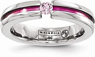 Edward Mirell Titanium Pink Sapphire Anodized Grooved 4mm Wedding Ring Band Stone Gemstone Fashion Jewelry for Women Gift Set