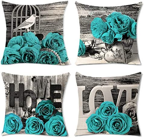 Teal Throw Pillow Covers Turquoise Blooming Rose Flowers Couch Pillow Covers Romantic Love Cushion product image