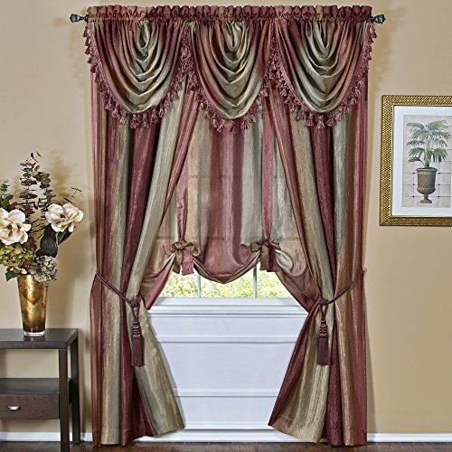 "Designer Home Multi-Color Striped Modern Semi-Sheer Window Curtain Drape Panels (Red, 50"" x 84"" Panel)"