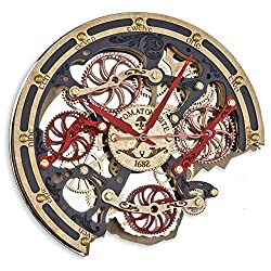 Automaton Bite Khokhloma Wall Clock, Handcrafted Steampunk Decor, Mechanical moving Gears, Wooden Home Kitchen Living Room and Office interior design, Personalized Decorative Art, Custom Gift