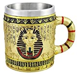 Egyptian Theme Golden King Tut Pharaoh of Egpyt Dynasty Beer Stein Tankard Coffee Cup Mug Great Gift For Ancient Egyptian Culture Lovers School Classroom Decor Office Desktop Accessory