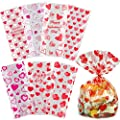 Valentine Cellophane Bags, 120 Pack with Twist Ties,Valentine Gift Bags for Kids, Perfect Valentines Treat Bags, Valentines Goodie Bags, 7 Assorted Styles
