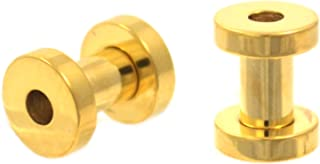Pair of 8G-00G Goldtone IP Steel Screw Fit Tunnels Plugs