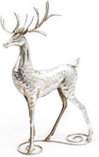 One Holiday Way Elegant Silver Metal Deer Figurine – Tabletop Christmas Decoration (Upright)