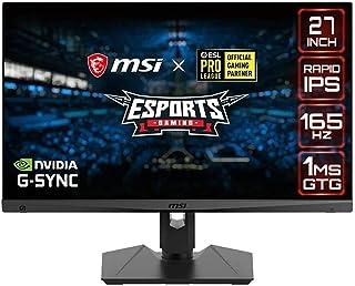 MSI Optix MAG274QRF-QD ESports Gaming Monitor, 16:9 Aspect Ratio, 1ms GTG Response Time, 165Hz Response Rate, 27 Inches, A...
