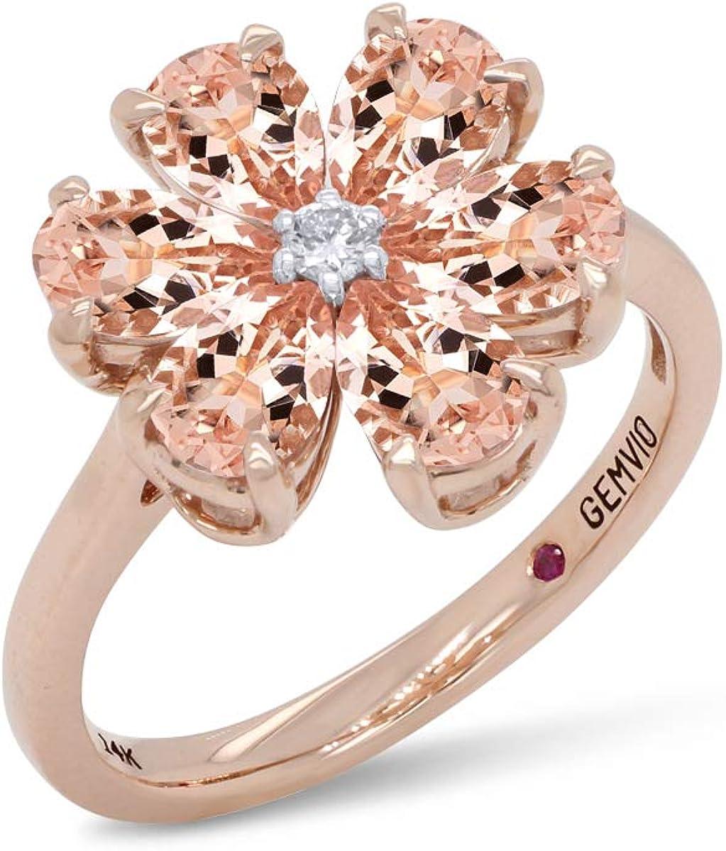 GEMVIO COLLECTION 1.45 Carat (Ctw) Botanical Flower Design, Pear 6X4MM Peach Morganite Gemstone & Diamond Accent In 14k Gold Enagagement Anniversary Wedding Ring For Womens Birthday