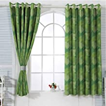 Green Bedroom Curtains Blackout Shades Abstract Hosta Plants Lush Forest Growth Leaves Ecology Jungle Theme Darkening Drapes for Bedroom W107 x L96 Inch Fern Lime and Pale Green