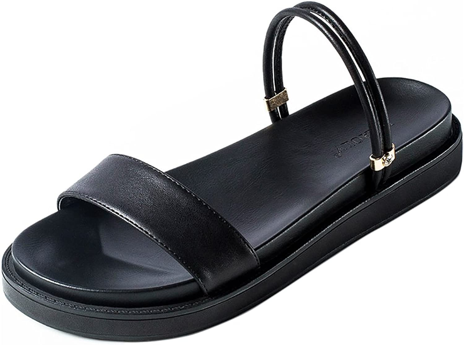 Simple Summer Low Heeled Sandals Ladies Fashion Slippers ( color   Black , Size   35 )