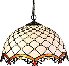 16-inch Decorative Chandelier, American Creative Romantic Hand-Painted Glass Ceiling lamp, 40 cm Tiffany-Style Artwork,40
