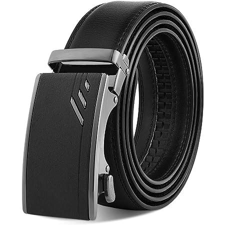 "VBIGER Leather Belts for Men Black Automatic Belt 120cm (Directly Suitable for Waist Size: 39""-46""; Trim to Fit Waist Size: 28""-38"""")"