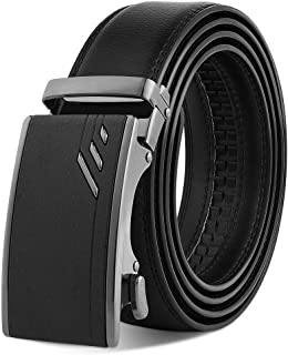 "VBIGER Leather Belts for Men Black Automatic Belt 120cm (Directly Suitable for Waist Size: 39""-46""; Trim to Fit Waist Size..."