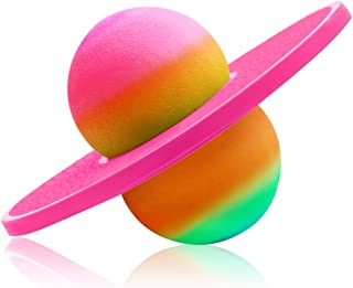ZYAQ Colorful Hopper Balance Pogo Jumping Exercise Bounce Space Fitness Ball for Kids Adults (Pink)