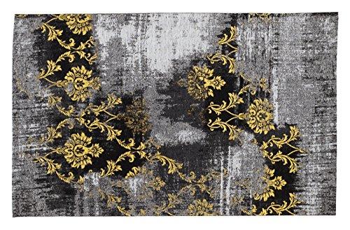 REAL ROSE Vintage Patchwork Velour Teppich in grau-gelb, Größe: 200x300 cm