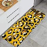 PUIO Juegos de alfombras de Cocina Multiusos,Animal Print Leopardo Textura antecedentes,Alfombrillas cómodas para Uso en el Piso de Cocina súper absorbentes y Antideslizantes