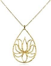 Satya Jewellery Gold Plate Teardrop Lotus Chain Necklace