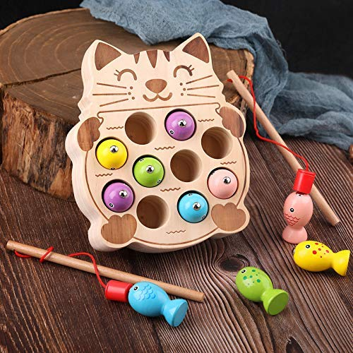 Holz Angelspiel Spielzeug for Kinder, das erste Baby 3D Educational Holzspielzeug for Kleinkinder My zcaqtajro