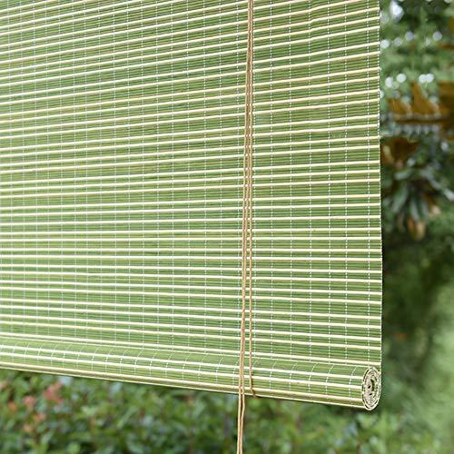 N / A - Cortinas enrollables para exteriores, persianas enrollables de madera para ventanas, pérgola porche, patio, sombrilla verde con ganchos, 70/90/110/130 cm de ancho (tamaño: 90 cm x 90 cm)