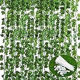 Plantas Hiedra Artificial (14pcs*2.2m) Decoración, Hojas de Vid, Guirnalda Hiedra Artificial Enredadera, Hogar Escalera Ventana Balcón Valla Jardín Boda Interior Exterior, Kit 80pcs botónes y Lazo