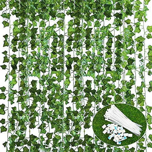 JNCH Planta Hiedra Artificial (14pcs*2.2m) Decoración, Hojas de Vid, Guirnalda Hiedra Artificial Enredadera, Hogar Escalera Ventana Balcón Valla Jardín Interior Exterior, Kit 80pcs botónes y Lazo