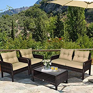 MengFeiNi 4-Piece Patio Rattan Sofa Set with Cushions Brown