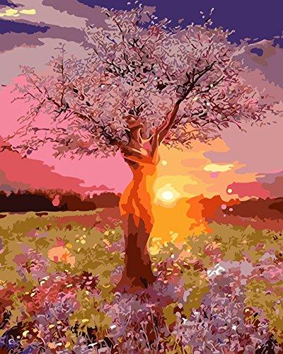 YEESAM ART DIY Ölgemälde Malen nach Zahlen Erwachsene Kinder, Sonnenuntergang Rosa Schönheit Baum Zahlenmalerei ab 5 Öl Wandkunst