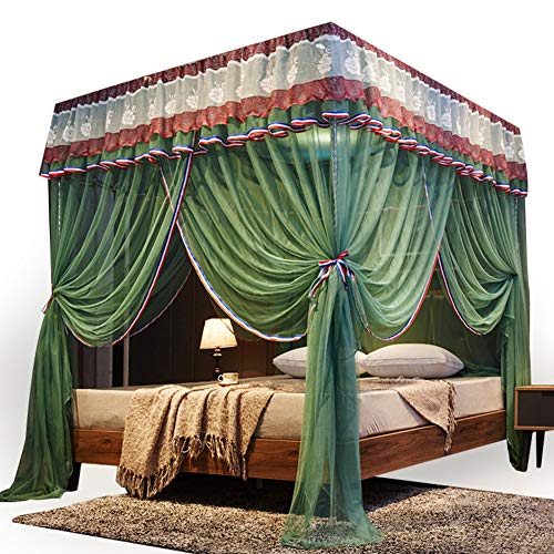 Quadratische Prinzessin Baldachin,4 Ecke Moskitonetze Für Double Bett,spitze Baldachin Bett Vorhang Auf Netting Für Double,queen-größe Betten-c 180x200cm(71x79inch)