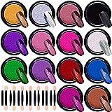 Duufin 14 Cajas Cromo en Polvo para Uñas Efecto Espejo para Uñas con 14 Piezas Palos de Sombra de Ojos