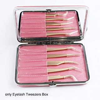 Tweezers Case for Eyelash Extensions PU Leather Portable Individual Makeup Tools Storage Case Scissors Lash Brush and Tweezers Organizer Bag (Pink)