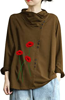 iTLOTL Plus Size Women Long Sleeve Foral Print Button Turtleneck Blouse Top