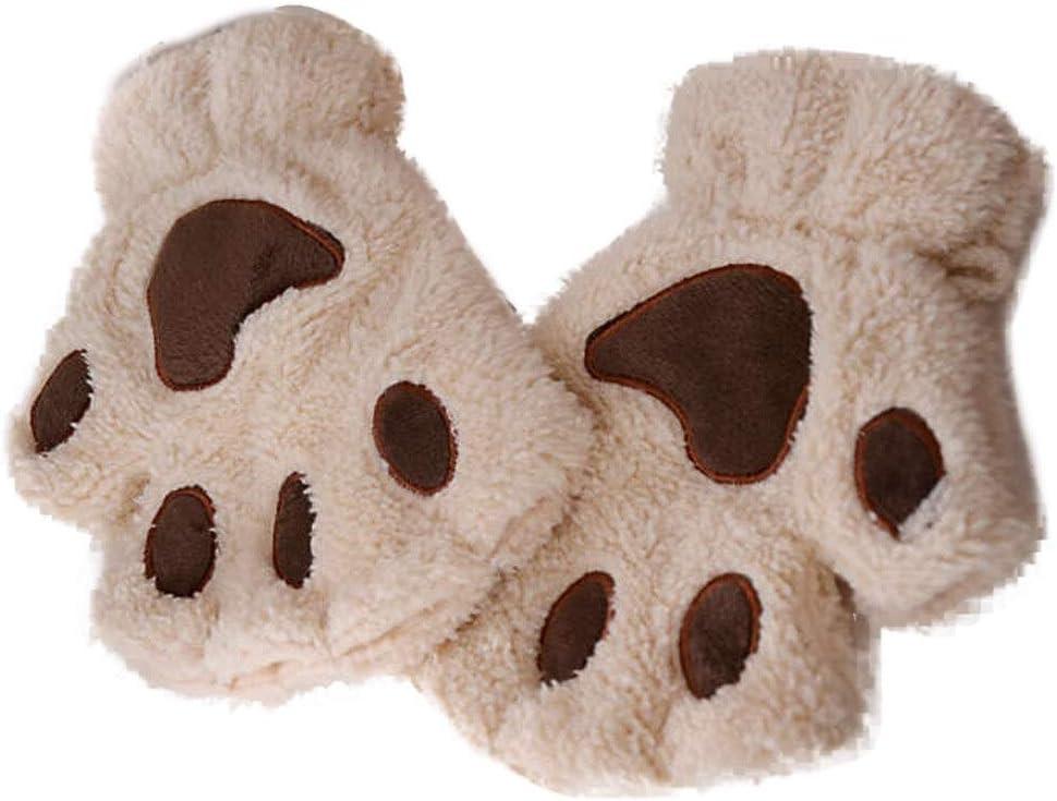 FASGION 2019 Winter Lovely Women Bear Cat Claw Paw Mitten Plush Gloves Short Finger Half Gloves Ladies Half Cover Female Gloves (Color : Beige, Gloves Size : One Size)