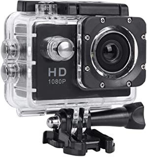 Cámara Deportiva 1080P videocámara de acción Gran Angular de 30 m Impermeable a 140 ° con Pantalla TFT LCD de 2 Pulgadas función de Toma única y Captura de instantáneas(Negro)