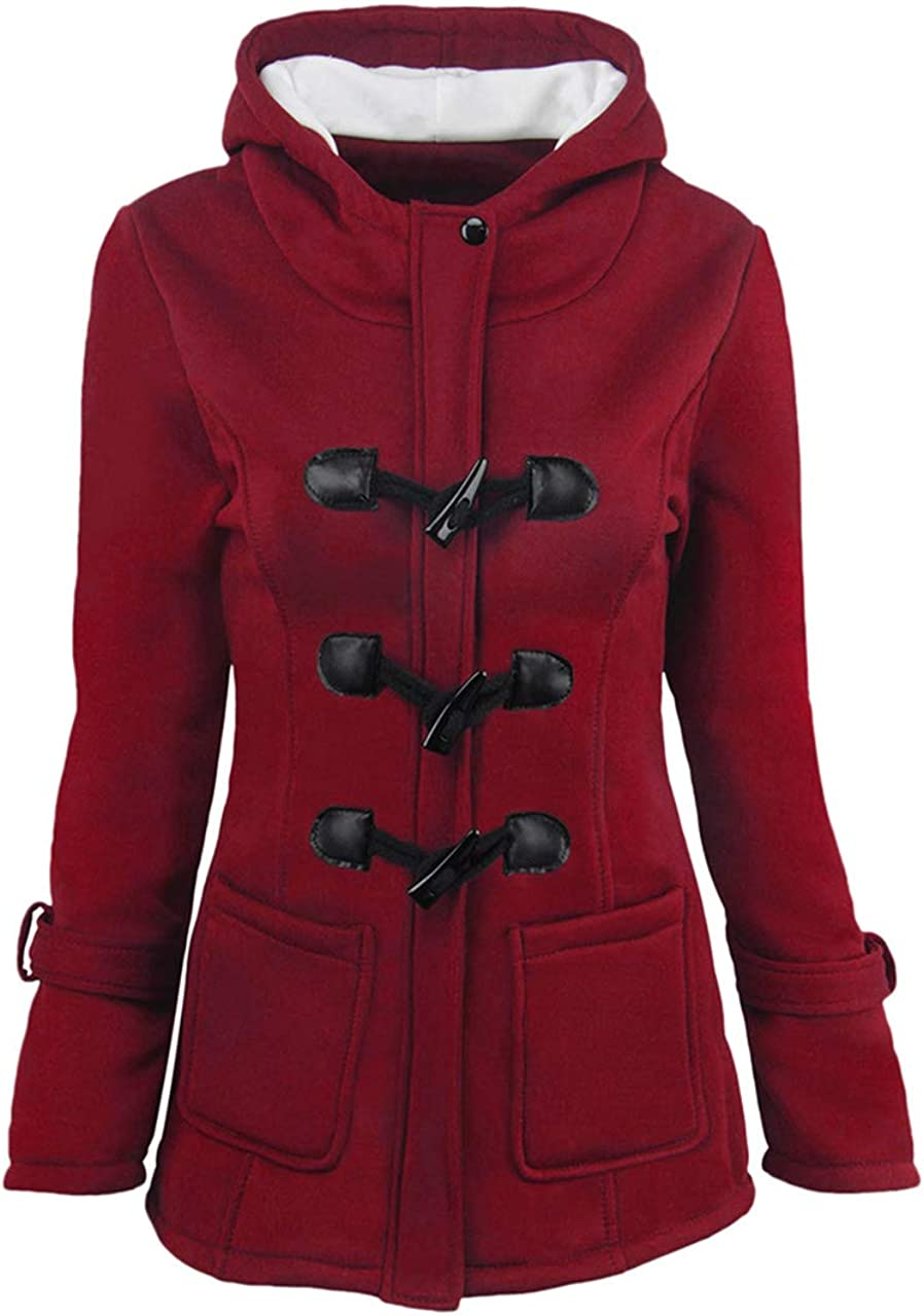 Max 90% OFF OMZIN Women Classic Duffle Coat Hooded Casual We OFFer at cheap prices Outerwear Winter F