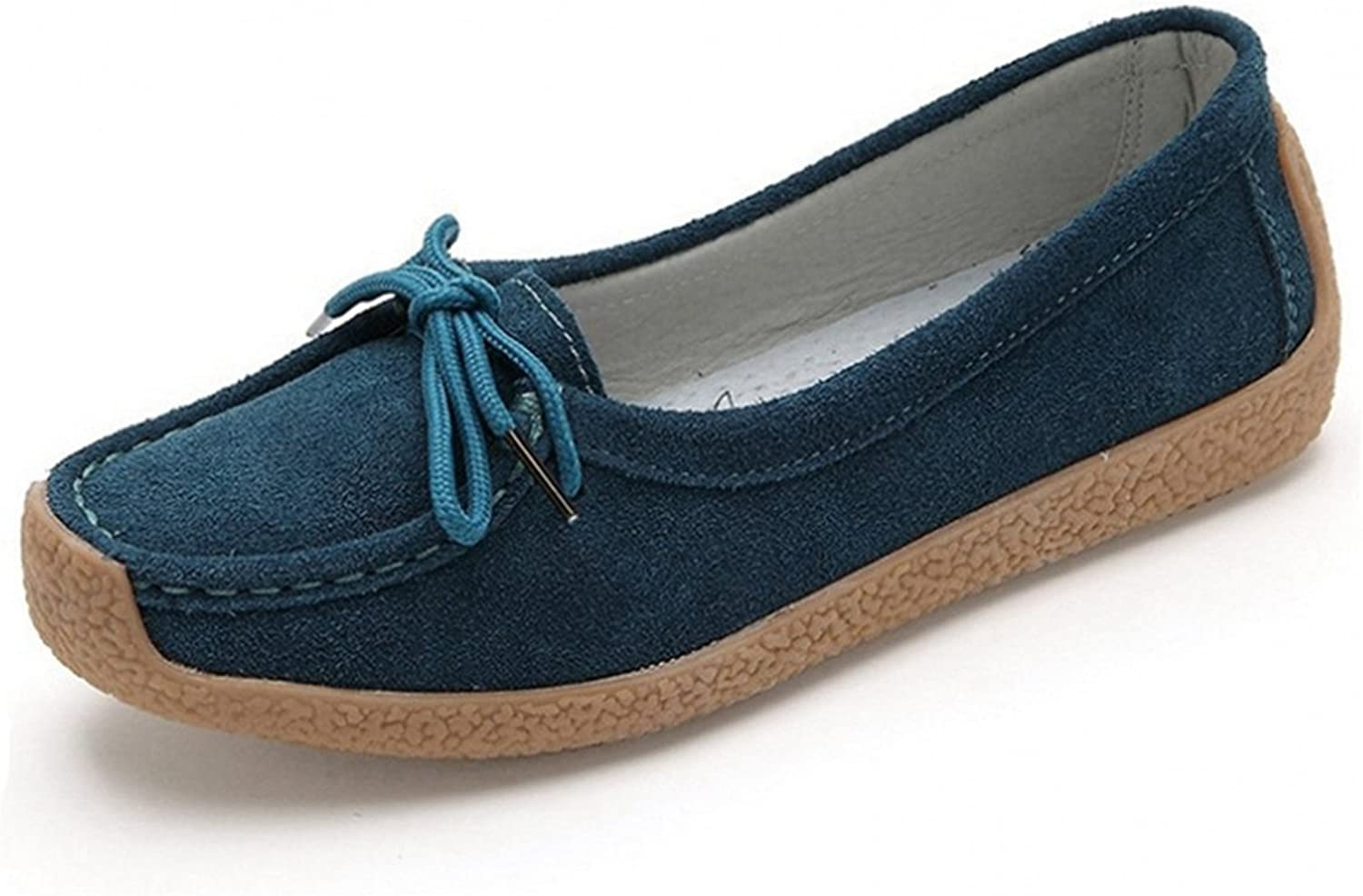 York Zhu Lace-up Loafers for Women, Slip on Suede Moccasins Woman Loafers shoes
