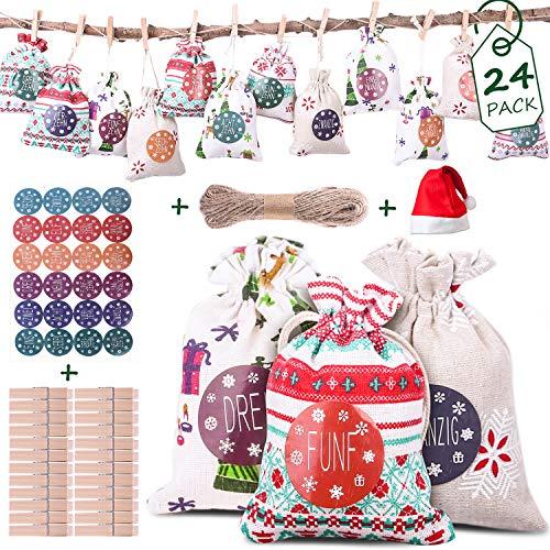BEAUTLOHAS. Adventskalender zum Befüllen, 24 Überraschung Geschenksäckchen mit 1-24 Adventszahlen Aufkleber wiederverwendbar Geschenktüte Weihnachtskalender Bastelset EIN Weihnachtsmütze as Bonus